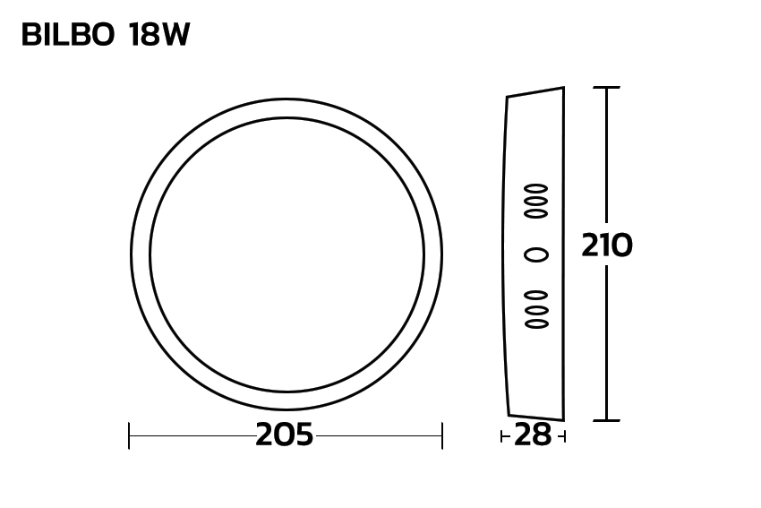 DIMENSION โคมไฟดาวน์ไลท์ LED 18W BEC BILBO
