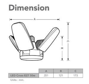 ขนาดหลอดไฟ LED 50W EVE CROSS